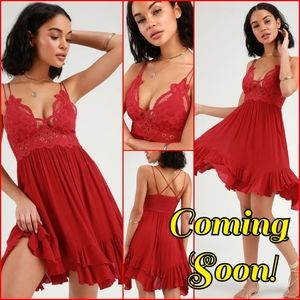 Free People Adella Slip NWT Bright Red COMING SOON